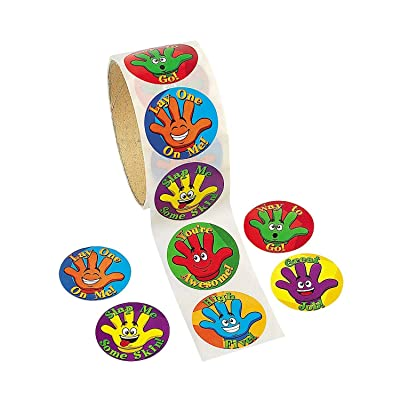 Fun Express High Five Stickers Roll (100) - 1 Piece - Educational and Learning Activities for Kids: Toys & Games