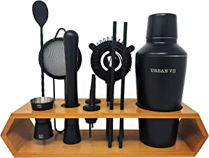 Cocktail Shaker Set & Bartender Kit by URBAN VII: 12-Piece Premium Black Matte Bar Kit Set with Bamboo Stand. Includes Muddler, Jigger, 2 Strainers, Bar Spoon, 2 Pourers, Ice Tong, 2 Reusable Straws