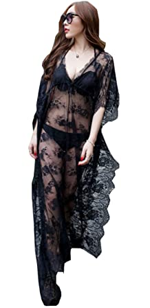 3b9235e80a Santwo Fashion Sexy Swimsuit Cover up Floral Lace Long Beach Dress  Beachwear (Black(Style