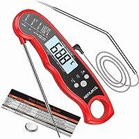 NIXIUKOL Vleesthermometer digitale kookthermometer met direct lezen, 2 sonde, groot lcd-scherm, temperatuuralarm…