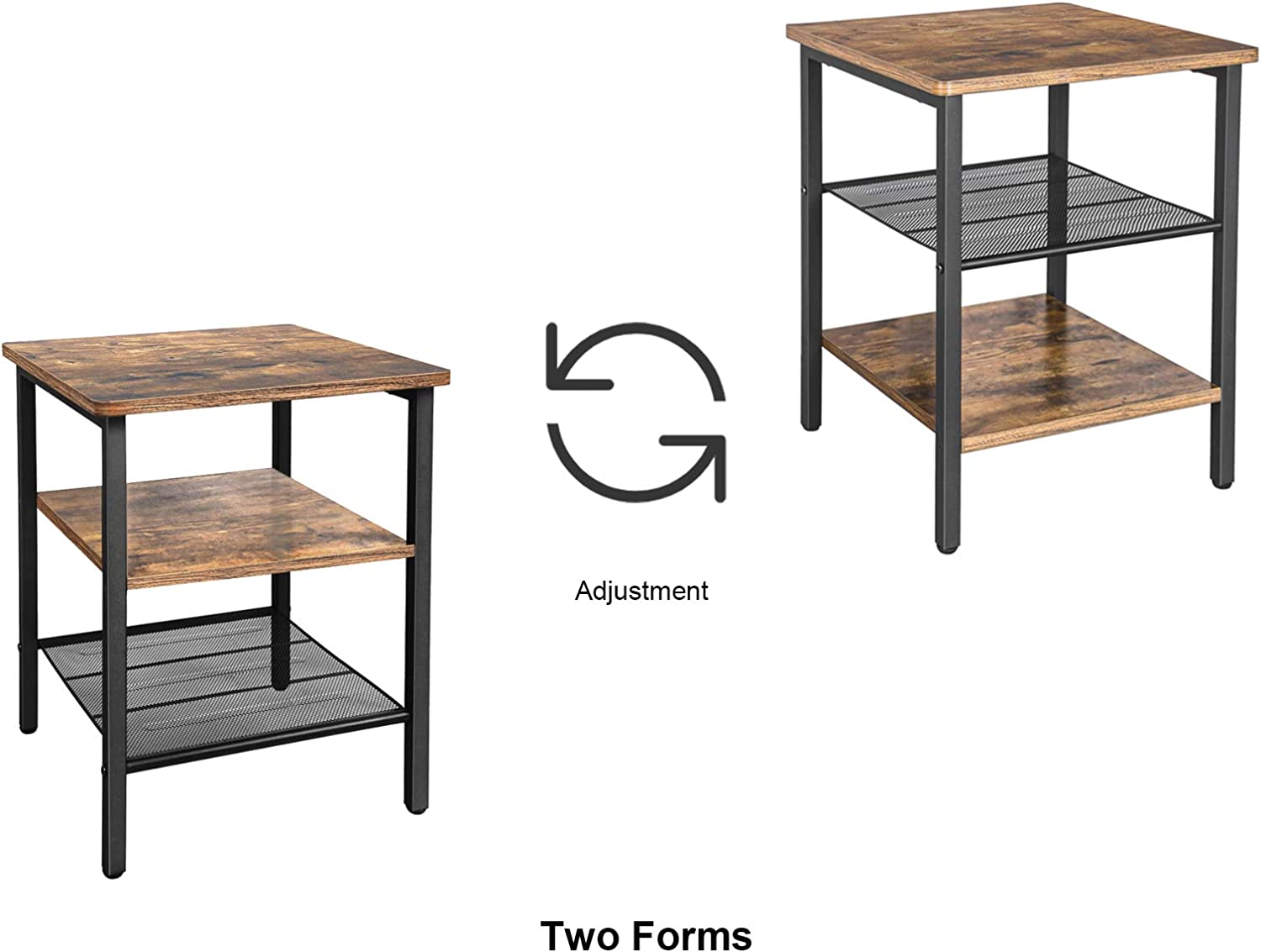 BEEWOOT End Table,Industrial Nightstand,Side Table with Storage Shelf for Living Room, Bedroom, Stable Metal Frame and Easy Assembly,Rustic Brown TB01BB002: Kitchen & Dining