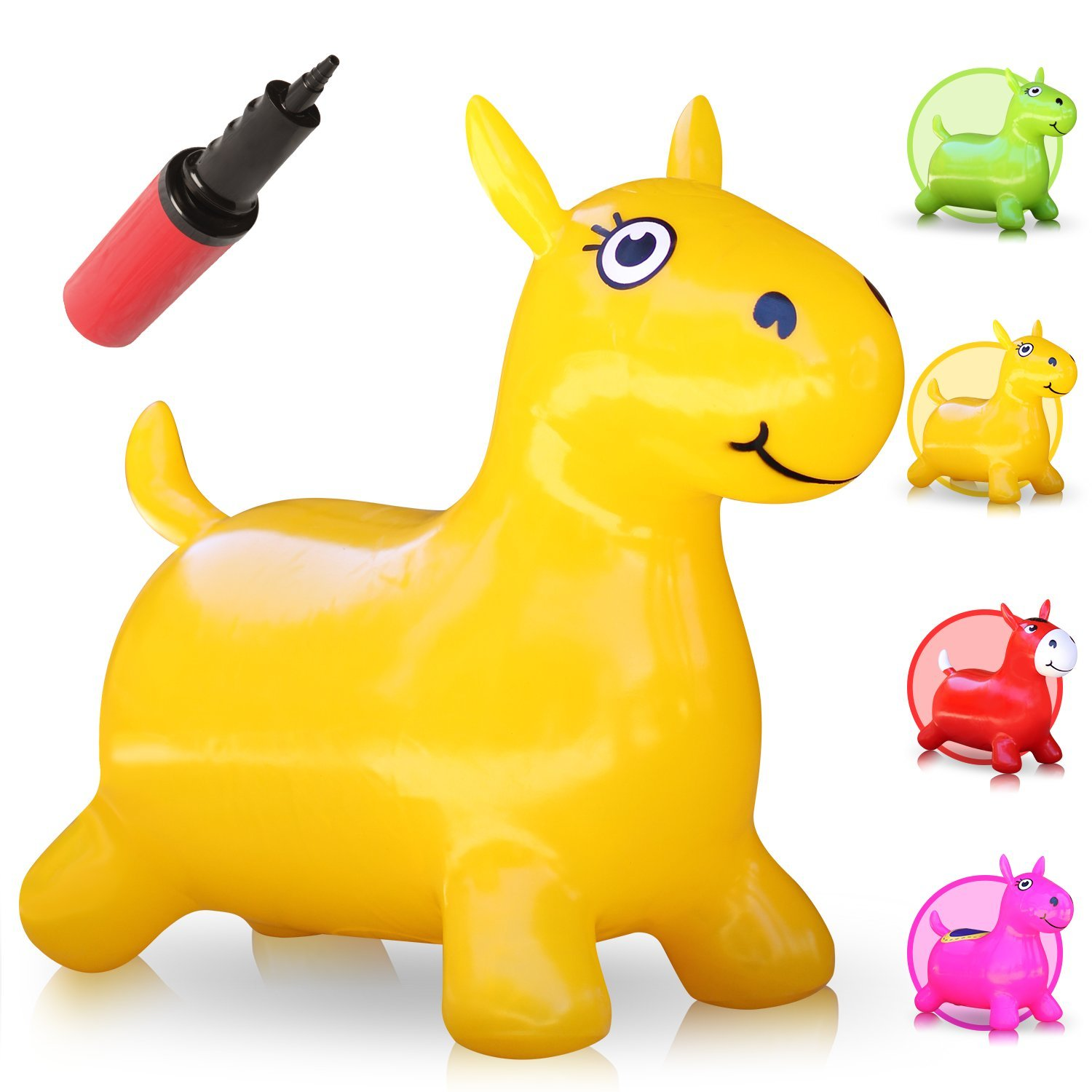 WALIKI Hopping Horse Hopper Johnny The Bouncy Horse Ridding Horse for Kids Pump Included Yellow