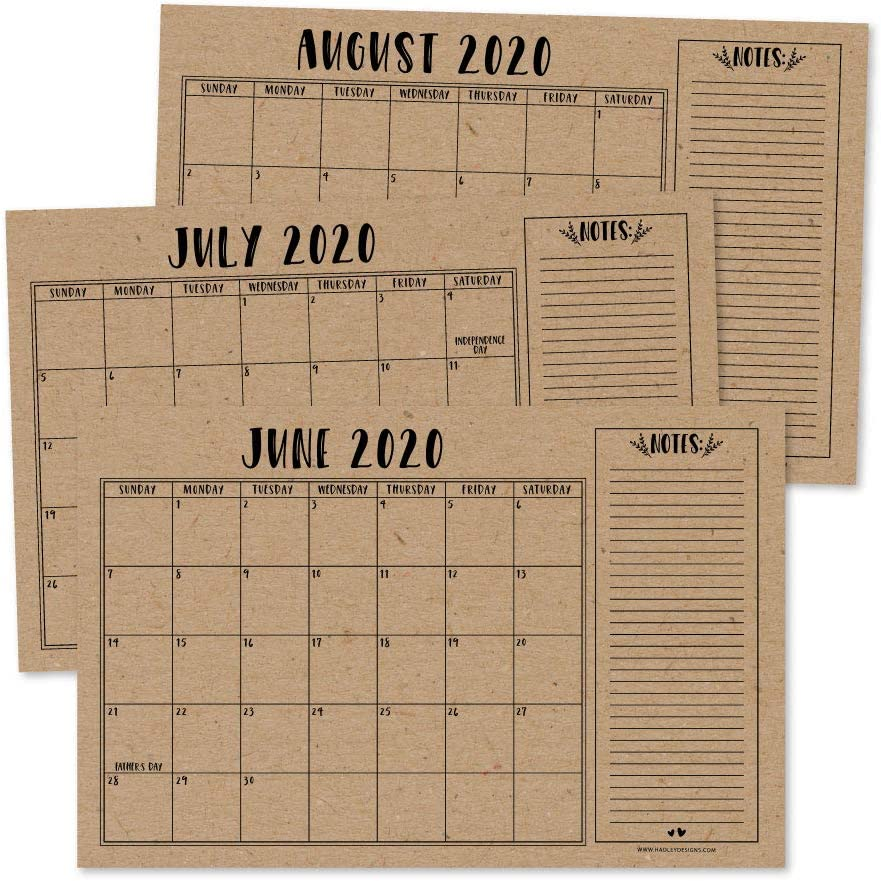 Mom Family Home Business Office 11x17 Hanging 2-Year Date Notepad Teacher 18 Month Academic Desktop Big Giant Planning Blotter Pad Rustic 2020-2021 Large Monthly Desk or Wall Calendar Planner