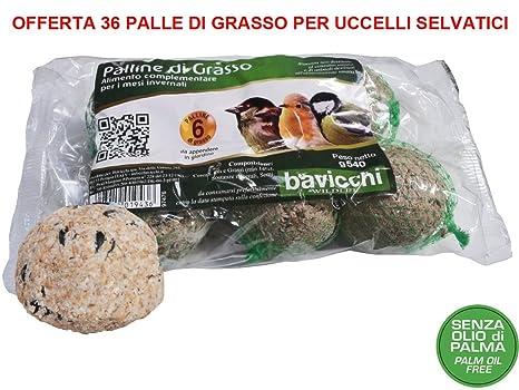 36 PALLE DI GRASSO MANGIME 90GR NO OLIO DI PALMA Cibo Per Uccelli Selvatici