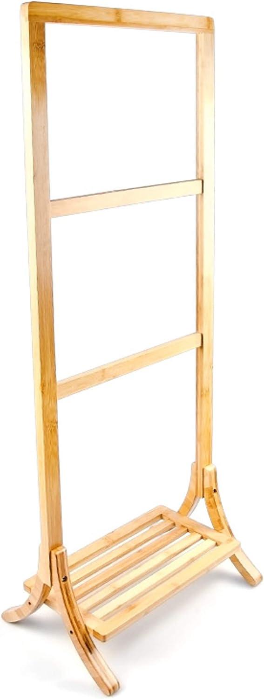 Relaxdays Handtuchhalter Bambus mit 3 Handtuchstangen und großer Ablage HBT 105 x 40 x 27 cm Handtuchständer als freistehender Handtuchtrockner mit