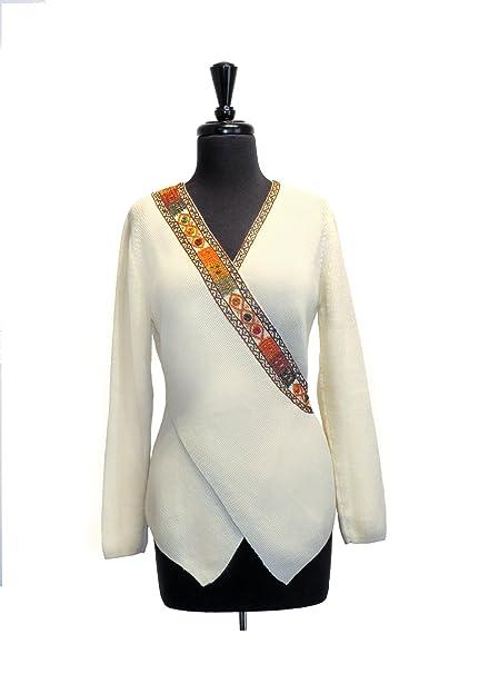 33ad4773b Amazon.com  100% Baby Alpaca Ladies Sweater with Embroidery ...