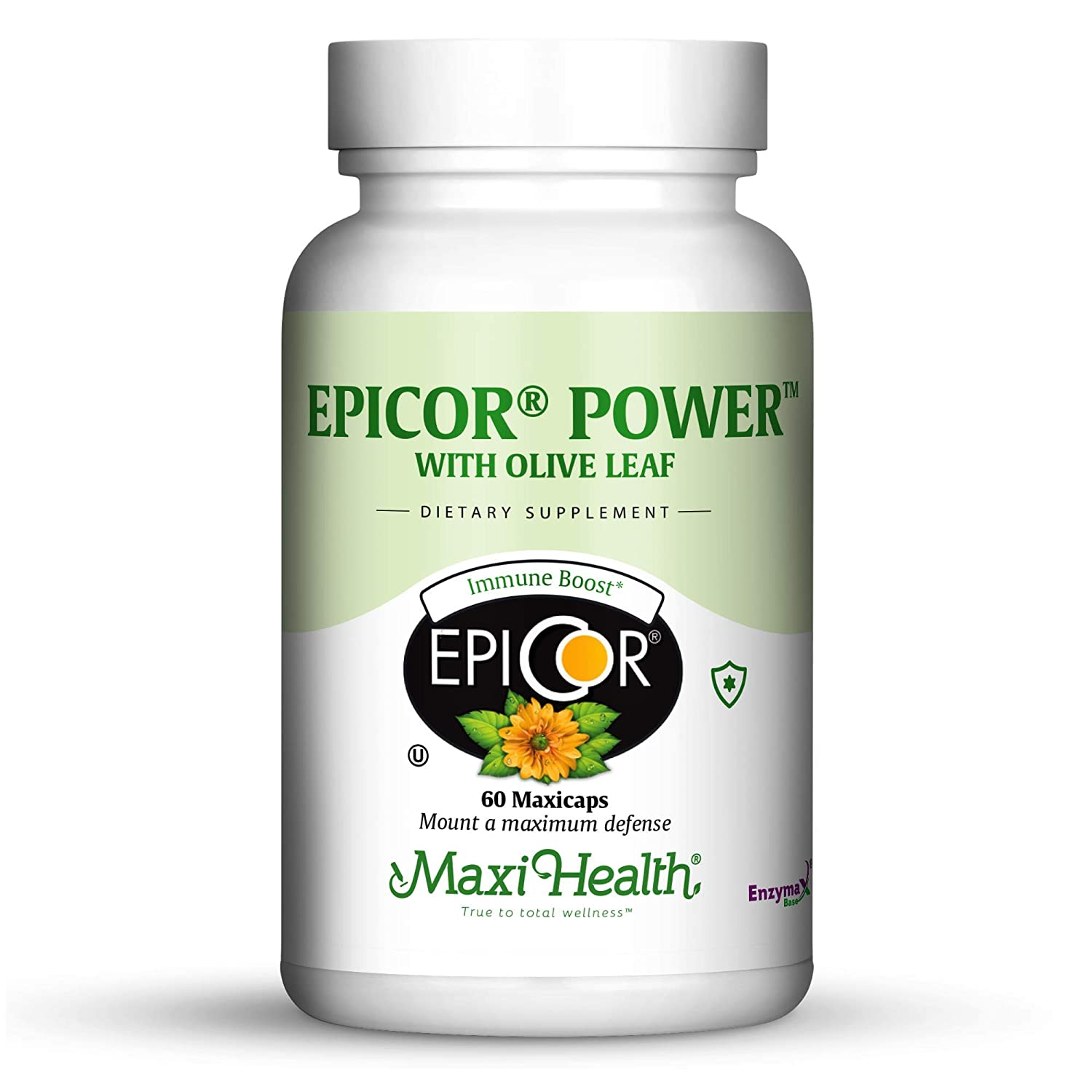 Epicor Powder by Maxi Health EpiCor with Olive Leaf Extract – Processed Brewer s Yeast – 60 Vegetarian Capsules – Kosher