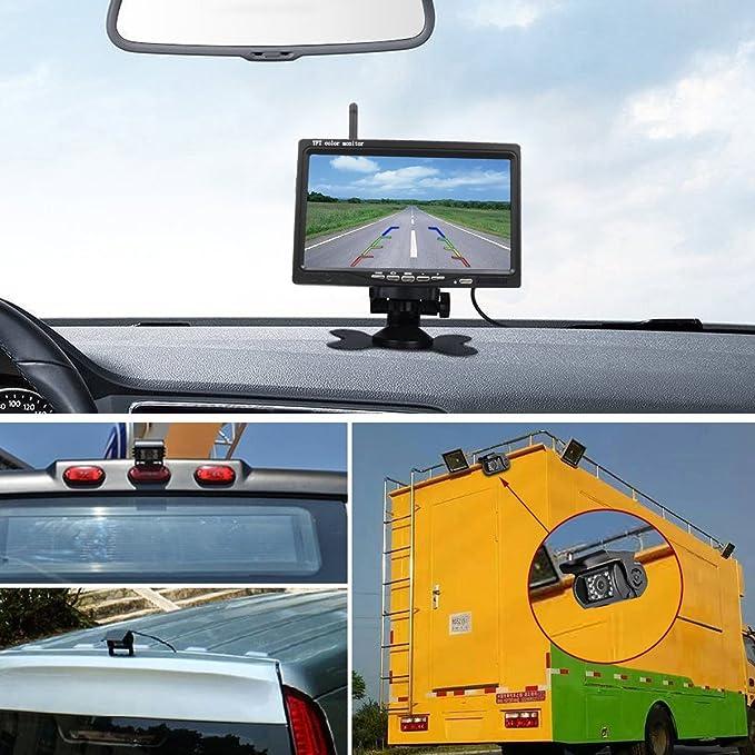 """Directtyteam Cámara Trasera Inalámbrica 7"""", 18LEDs, con Monitor LCD para Coche/Camión/RVs"""
