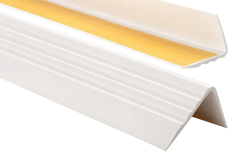 Argent/é Nez de marche profil d/'angle PVC autoadh/ésif 50x40mm antid/érapant descalier-protection bande de bordure 110cm