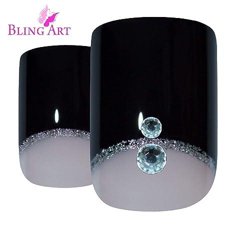 Uñas Postizas Bling Art Negro Crystal 24 Squoval Medio Falsas puntas acrílicas con pegamento