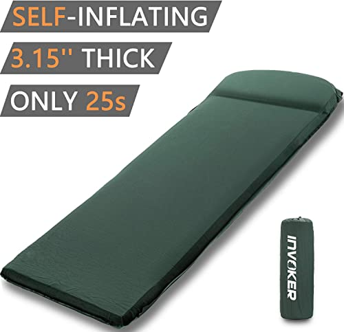 INVOKER Camping Sleeping pad 3inch UltraThick Memory Foam Self Inflating Camping Mat with Pillow Fast Inflating in 25s for Backpacking Traveling and Hiking Air Mattress Lightweight Camp Sleep Pad