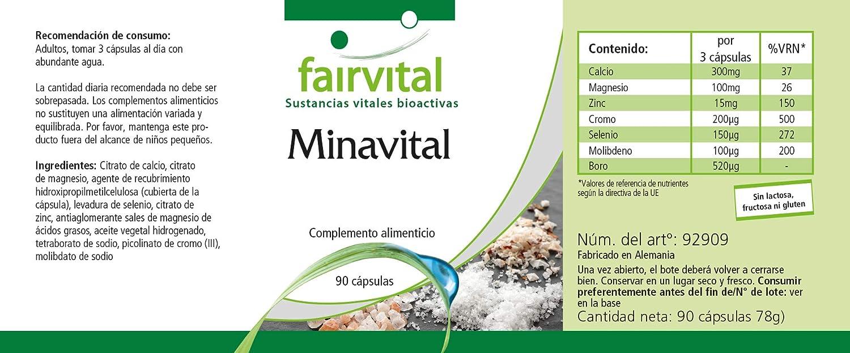 Minavital - para 1 mes - VEGANO - Alta dosificación - 90 cápsulas - multimineral con minerales esenciales y oligoelementos: Amazon.es: Salud y cuidado ...