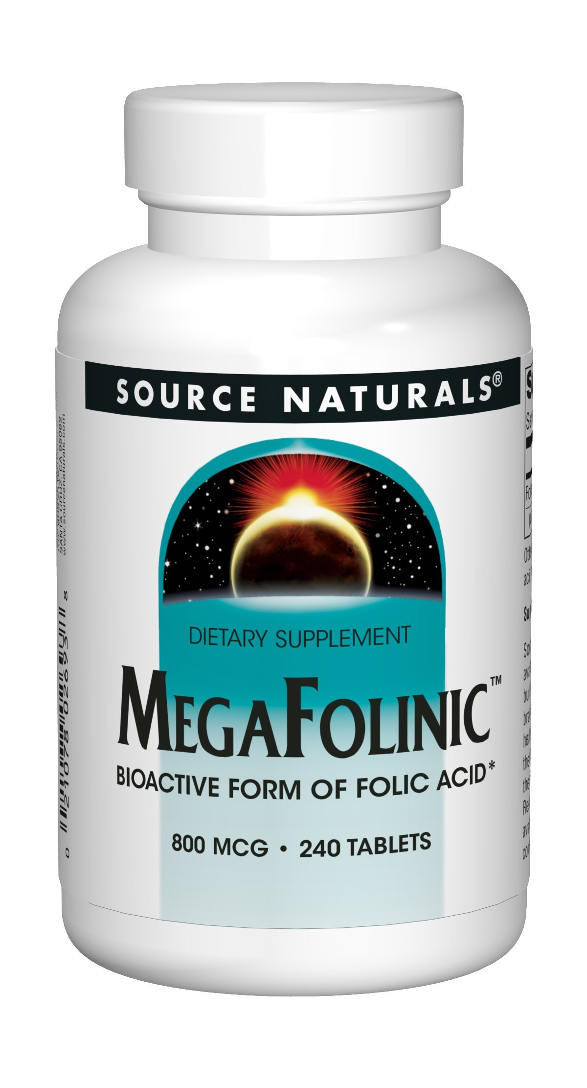 Source Naturals MegaFolinic 800mcg - 240 Tablets