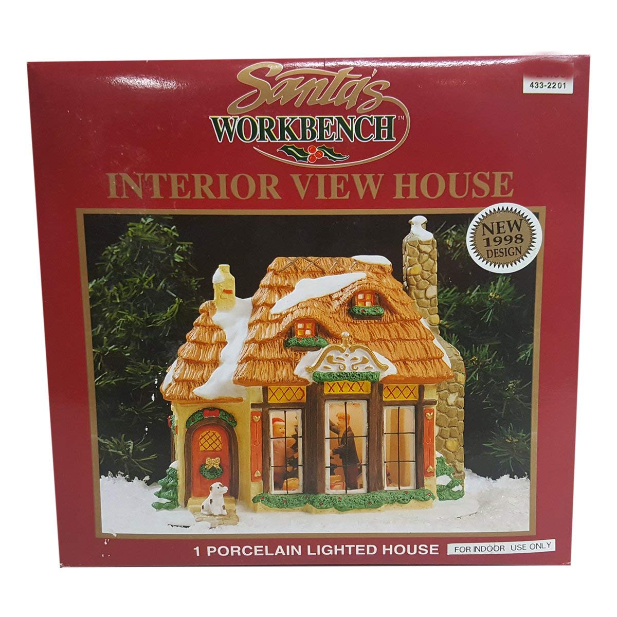 Santa's Workbench 1998 Interior View Porcelain Lighted House 433-2201