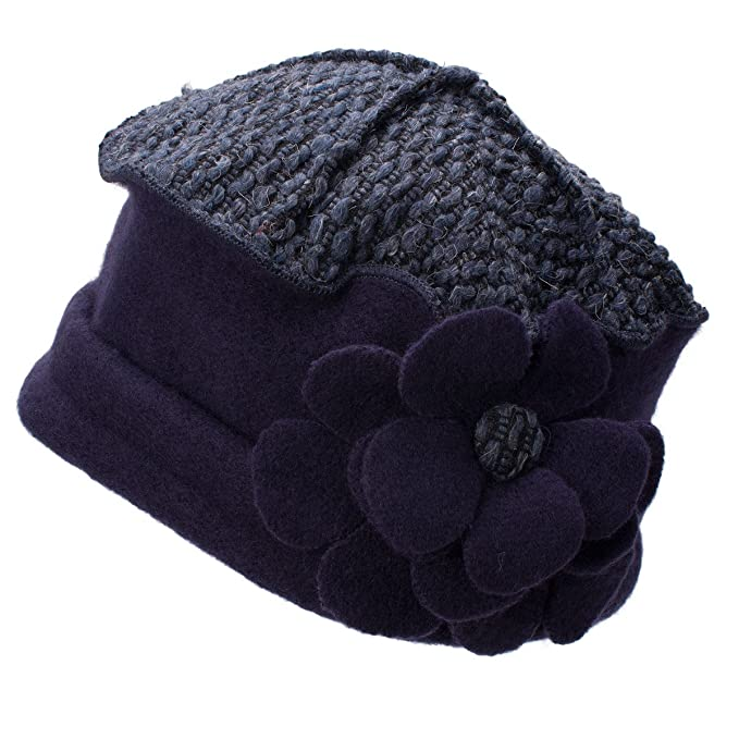 685b85e68856a Image Unavailable. Image not available for. Color  Lawliet Flower Trimmed  Womens Wool Beanie Cap Dress Crochet Hat A125 (Navy Blue)