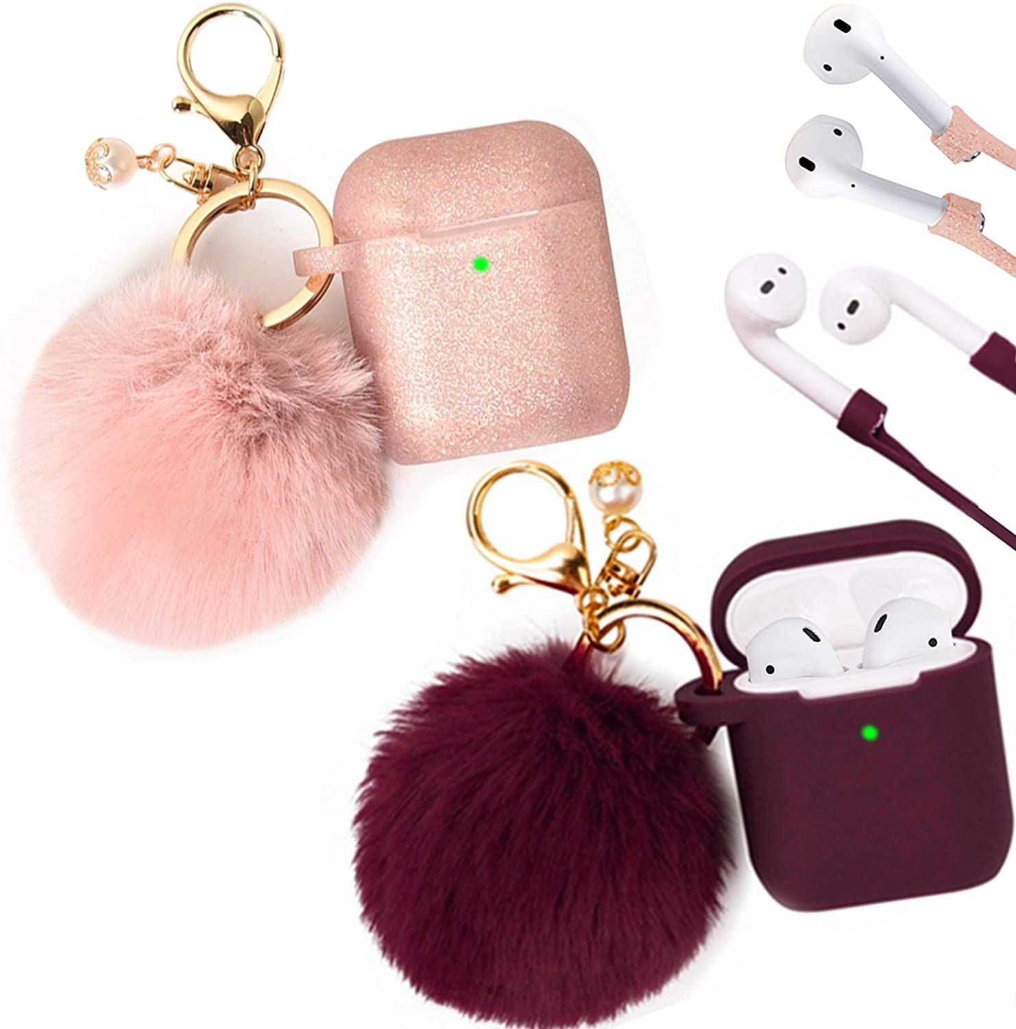 Filoto Case for Airpods, Filoto Airpod Case Cover for Apple Airpods 2&1 Charging Case, Cute AirPods Silicone Soft Case Accessories Keychain/Skin/Pompom/Strap (Burgundy+Rose Gold)