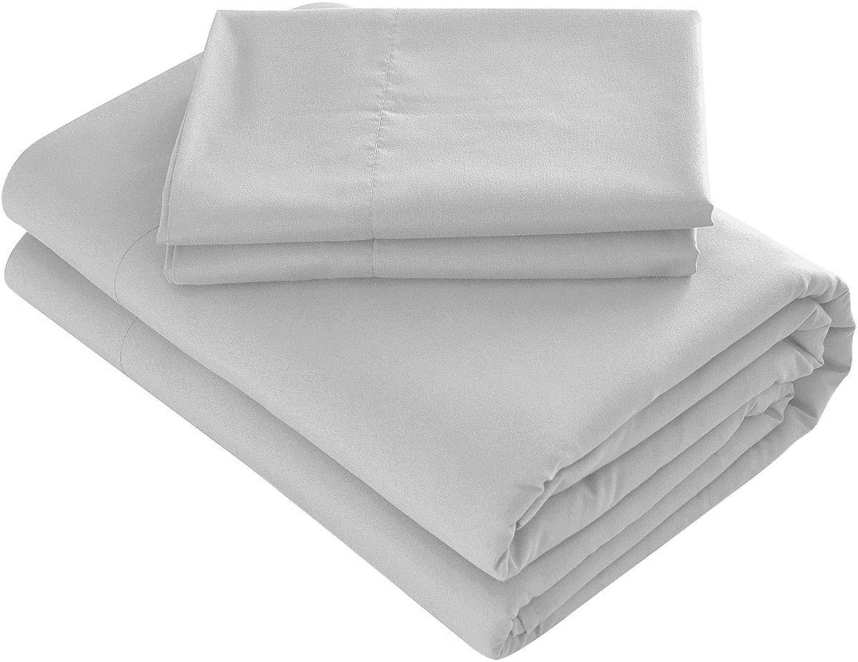 Prime Bedding Bed Sheets - 3 Piece Twin Sheets, Deep Pocket Fitted Sheet, Flat Sheet, Pillow Case - Light Gray