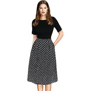2118e22d7a53 VfEmage Womens Vintage Summer Polka Dot Wear to Work Casual A-line Dress