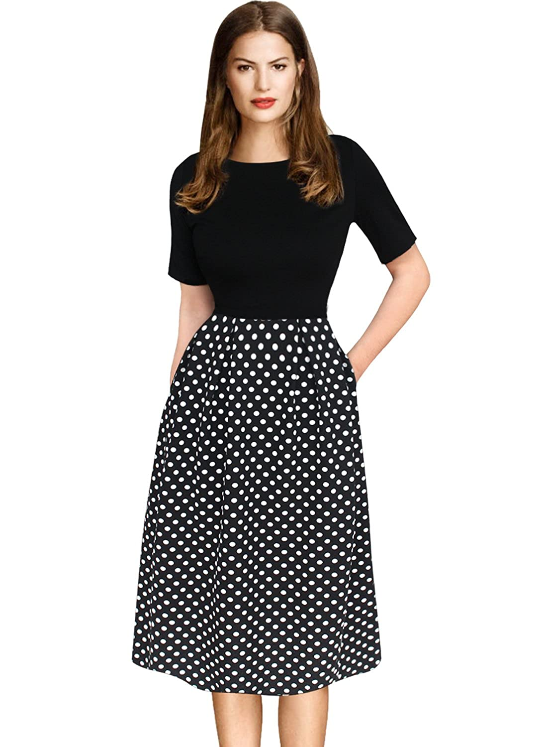 Black White Dotsummer Version VfEmage Womens Vintage Summer Polka Dot Wear To Work Casual Aline Dress