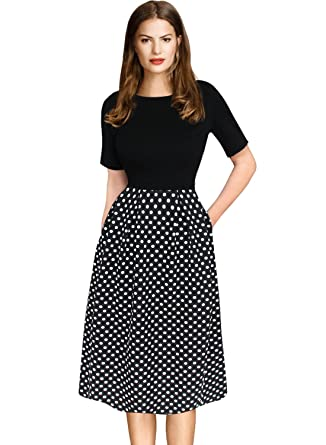 b3b21a403de VfEmage Womens Vintage Retro Summer Pocket Wear to Work Casual A-Line Dress  3067 BLK