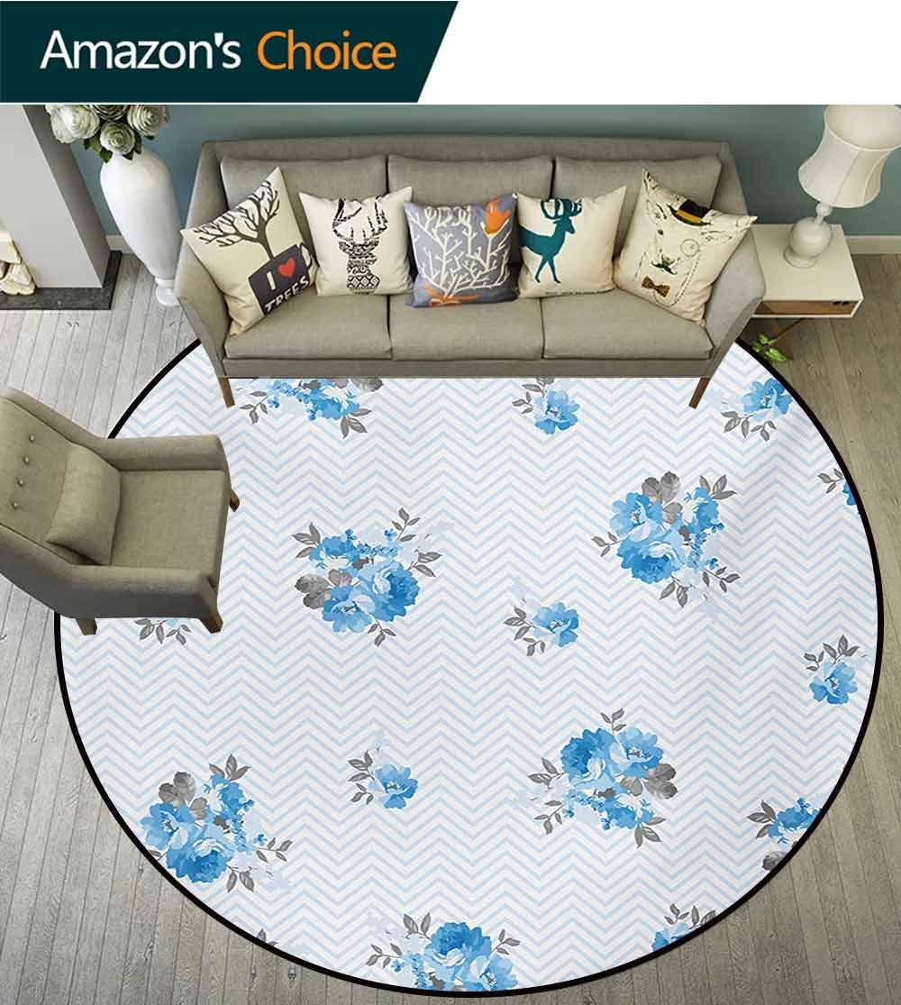 RUGSMAT Rose Non-Slip Area Rug Pad Round,Floral Theme Illustration of Blue Rose Flower Romantic Springtime Design Print Protect Floors While Securing Rug Making Vacuuming,Diameter-71 Inch