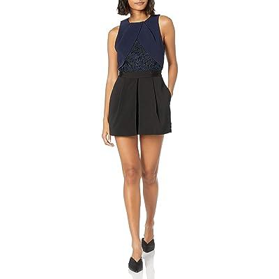 Adelyn Rae Women's Sasha Woven Romper W/Lace: Clothing