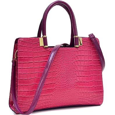 cd45474719c Dasein Classic Crocodile Leather Textured Shoulder Handbag Purse with  Removable Shoulder Strap - Fuchsia