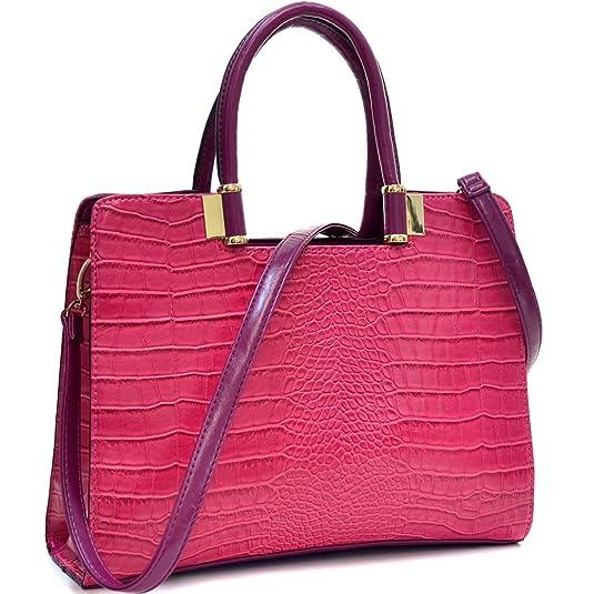 2b8acec6105 Dasein Classic Crocodile Leather Textured Shoulder Handbag Purse with  Removable Shoulder Strap - Fuchsia  Handbags  Amazon.com