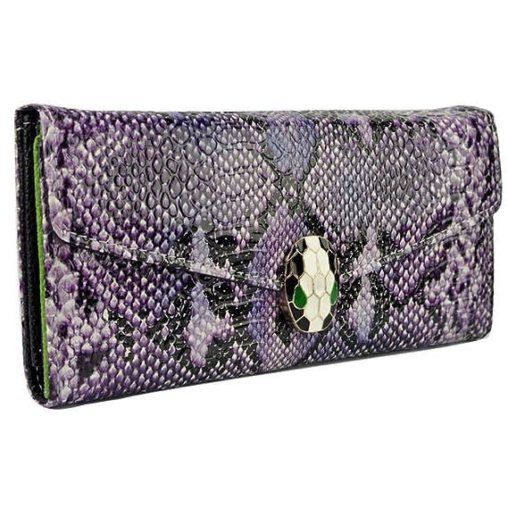 Acosta - tamaño grande morado estampado de piel de serpiente impresión bolso/cartera - Accesorio de moda: Amazon.es: Ropa y accesorios