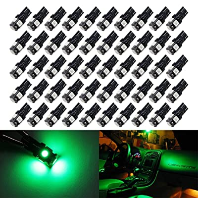 Boodled 50Pcs Green T10 168 2825 W5W 175 158 Led Bulb 5050 5-SMD LED Light Car Interior Lighting For Map Dome Lamp Courtesy Trunk License Plate Dashboard Parking Lights 12V.: Automotive