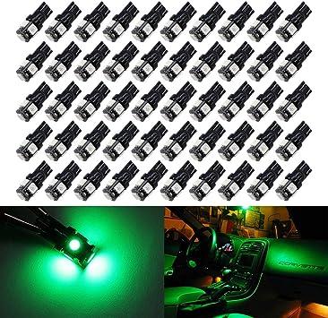 Boodled 50Pcs Green T10 168 2825 W5W 175 158 Led Bulb 5050 5-SMD LED Light Car Interior Lighting For Map Dome Lamp Courtesy Trunk License Plate Dashboard Parking Lights 12V.