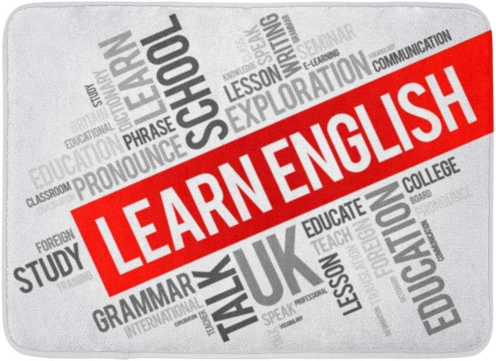 Alfombra de baño Curso Profesor Aprender inglés Palabra Nube ...