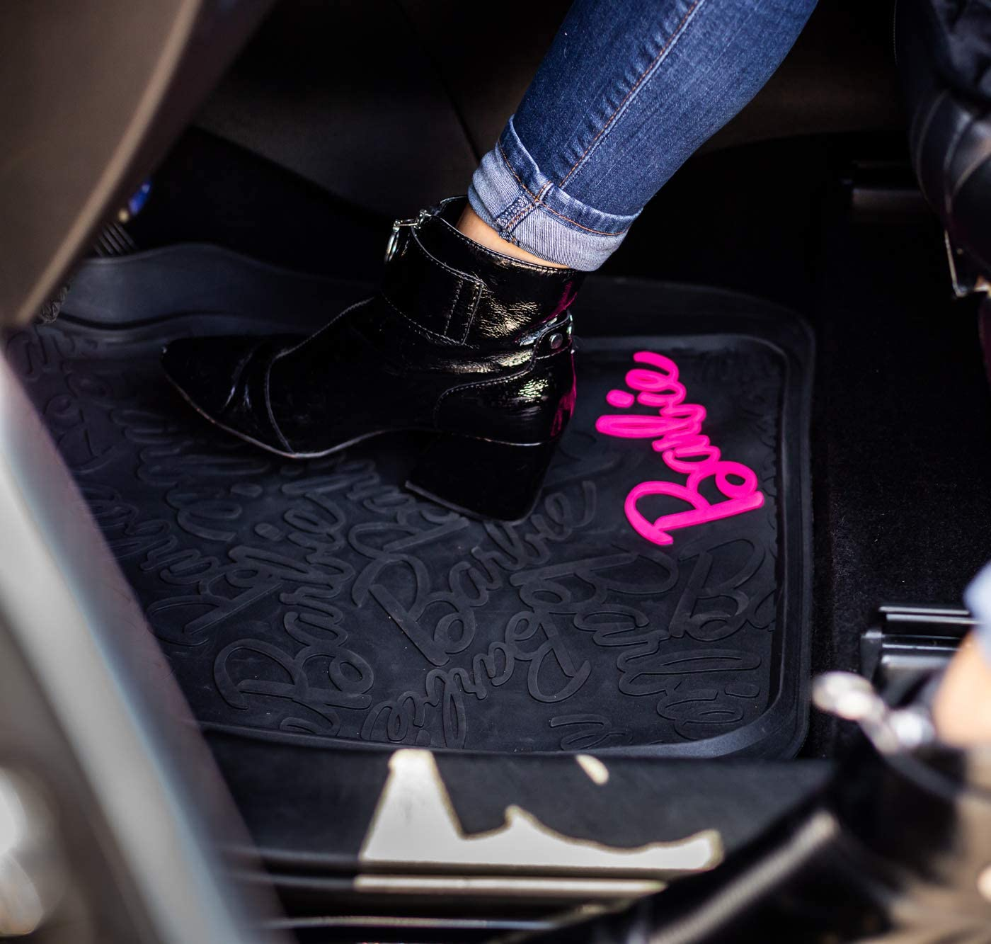 2, 1 Cars, SUVs and Truck Black seat Cover, Swarovski Crystals, Rhinestone License Plate Frame, Floor mat, All Weather Protection, Universal fit LUNNA AMA-008 Barbie Premium Deluxe Bundle