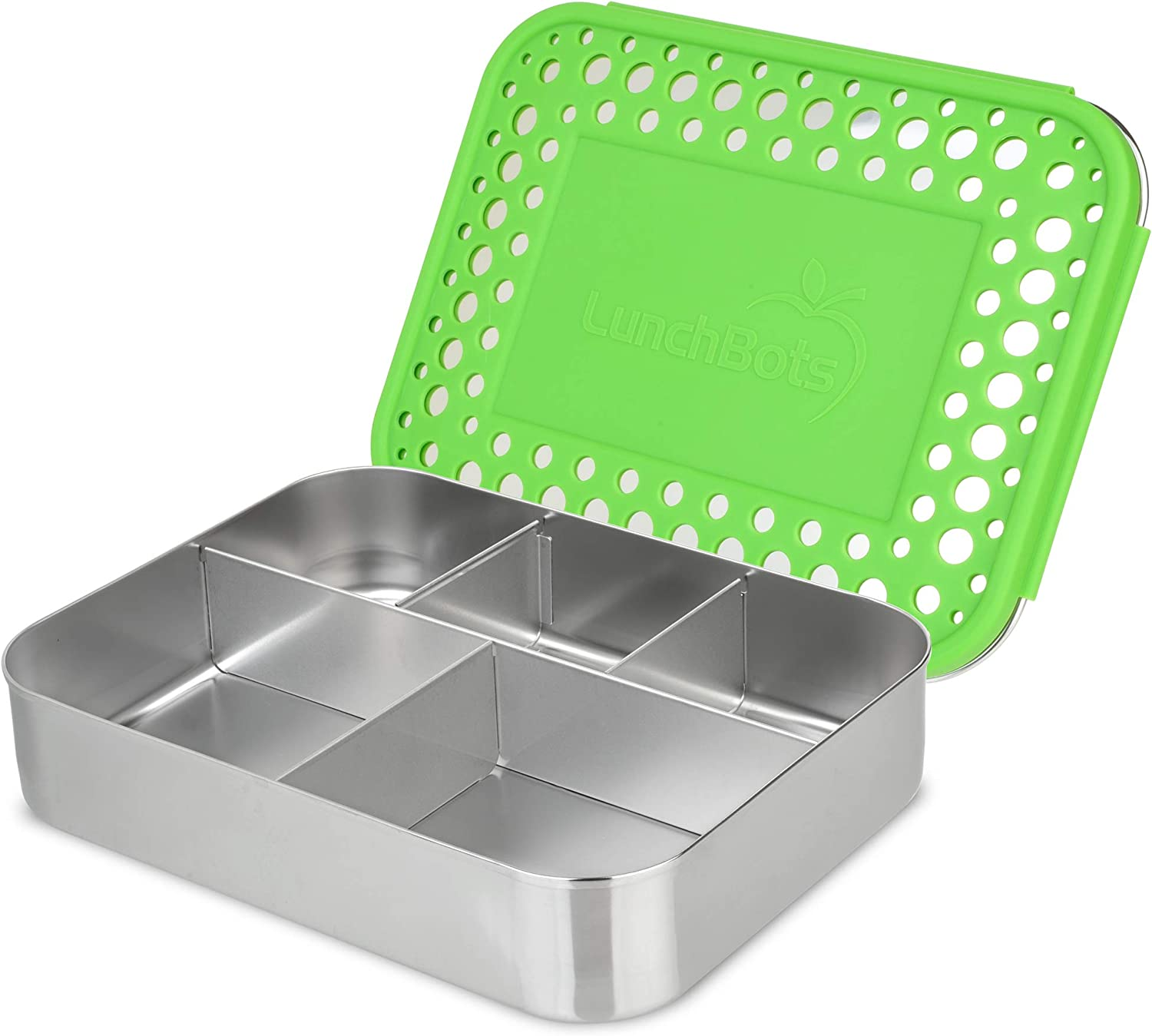 LunchBots Large Cinco Stainless Steel Lunch Container - Five Section Design Holds a Variety of Foods - Metal Bento Box for Kids or Adults - Dishwasher Safe - Stainless Lid - Green Dots