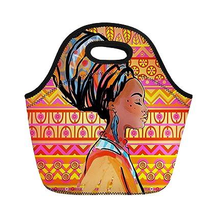 cc3c14b36227 Amazon.com: Semtomn Lunch Bags Black American Portrait of Beautiful ...