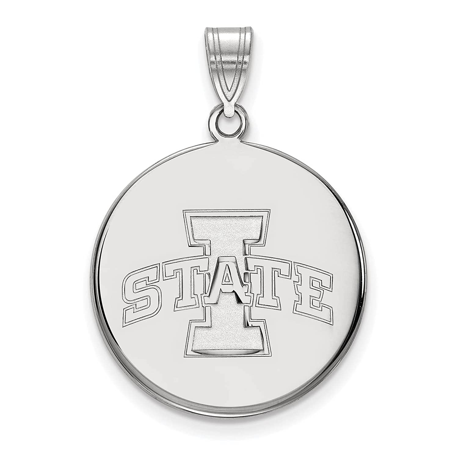 925 Sterling Silver Rhodium-plated Laser-cut Iowa State University Large Disc Pendant
