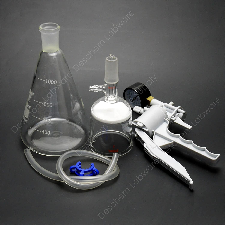 1000ml,Vacuum Suction Filter Device,200ml Buchner Funnel,1L Flask,Handle Vacuum Pump