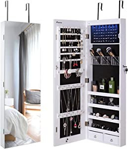 Nicetree Jewelry Cabinet, Jewelry Armoire Organizer with Full Screen Mirror, Wall/Door Mounted, 8 LED Lights, Full Length Mirror, White