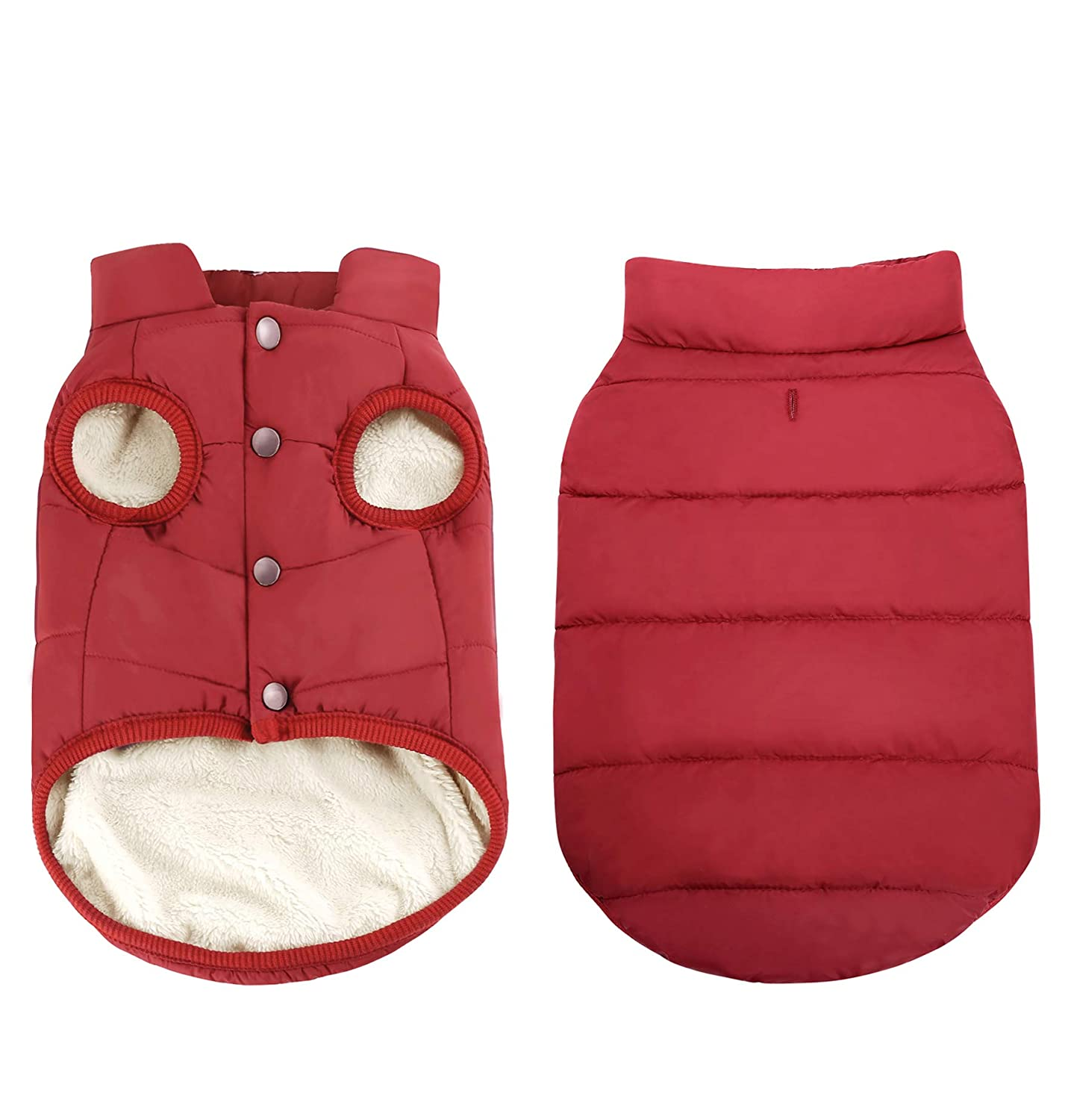 Red XL  Chest(21.6\ Red XL  Chest(21.6\ ASENKU Windproof Dog 2 Layers Fleece Lined Coat Waterproof Dog Jacket Warm Dog Vest Cold Weather Pet Apparel for Small Medium Large Dogs