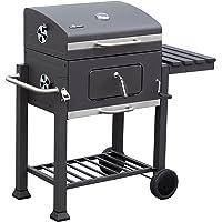 Ontario Grill El Fuego schwarz XXL BBQ Garten ✔ Rollen ✔ Deckel ✔ Seitentisch rechts ✔ Ablagefläche ✔ eckig ✔ rollbar ✔ stehend grillen ✔ Grillen mit Holzkohle ✔ mit Station ✔ mit Rädern