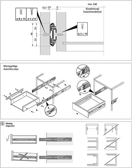 blanco resistente capacidad de carga de 45 kg 1 par de gu/ías deslizantes de rodamiento de bolas de acero para cajones paquete de 2 montaje lateral 3 pliegues de extensi/ón completa