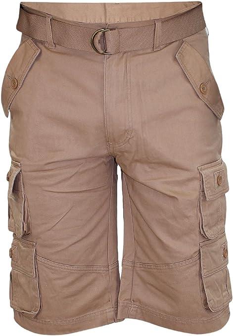 TALLA 36. Hombres liberan el cinturón de Bermudas Algodón de Combate de Bolsillo de Carga de Trabajo Shorts Pantalones Casuales