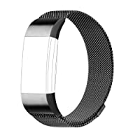 AdePoy For Fitbit Charge 2 Strap Bands Replacement, Milanese Loop Stainless Steel Bracelet Smart Watch Wristbands with Unique Magnet Lock for Fitbit Charge 2