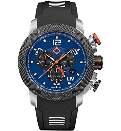 ... LIV GX1 Swiss Analog Display Chronograph Casual Watch for Men; 45 mm Stainless Steel with Date Calendar; 1000 feet Waterproof - Cobalt: LIV: Watches