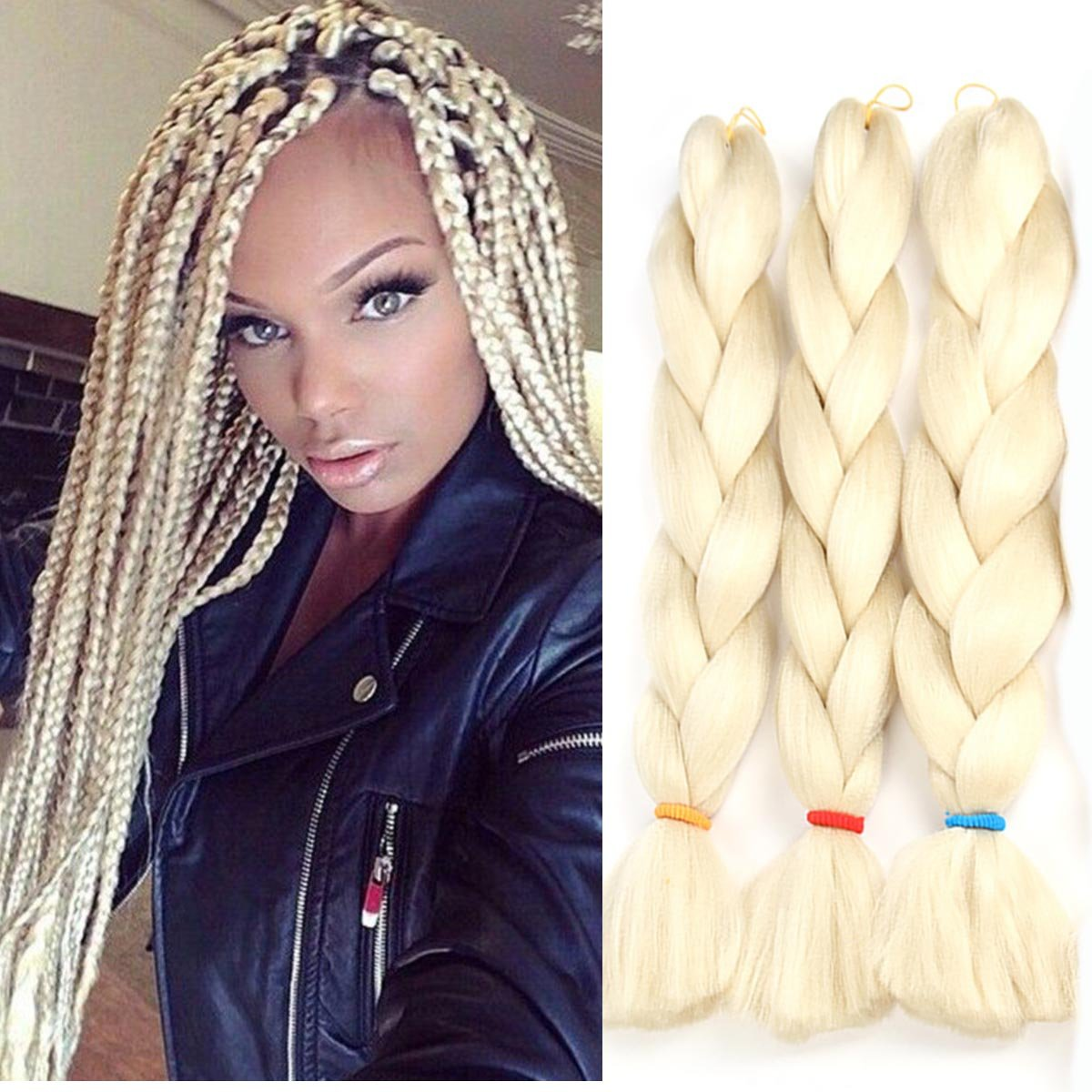 Amazon.com : VCKOVCKO Pink Jumbo Braid Crochet Braids Hair ...