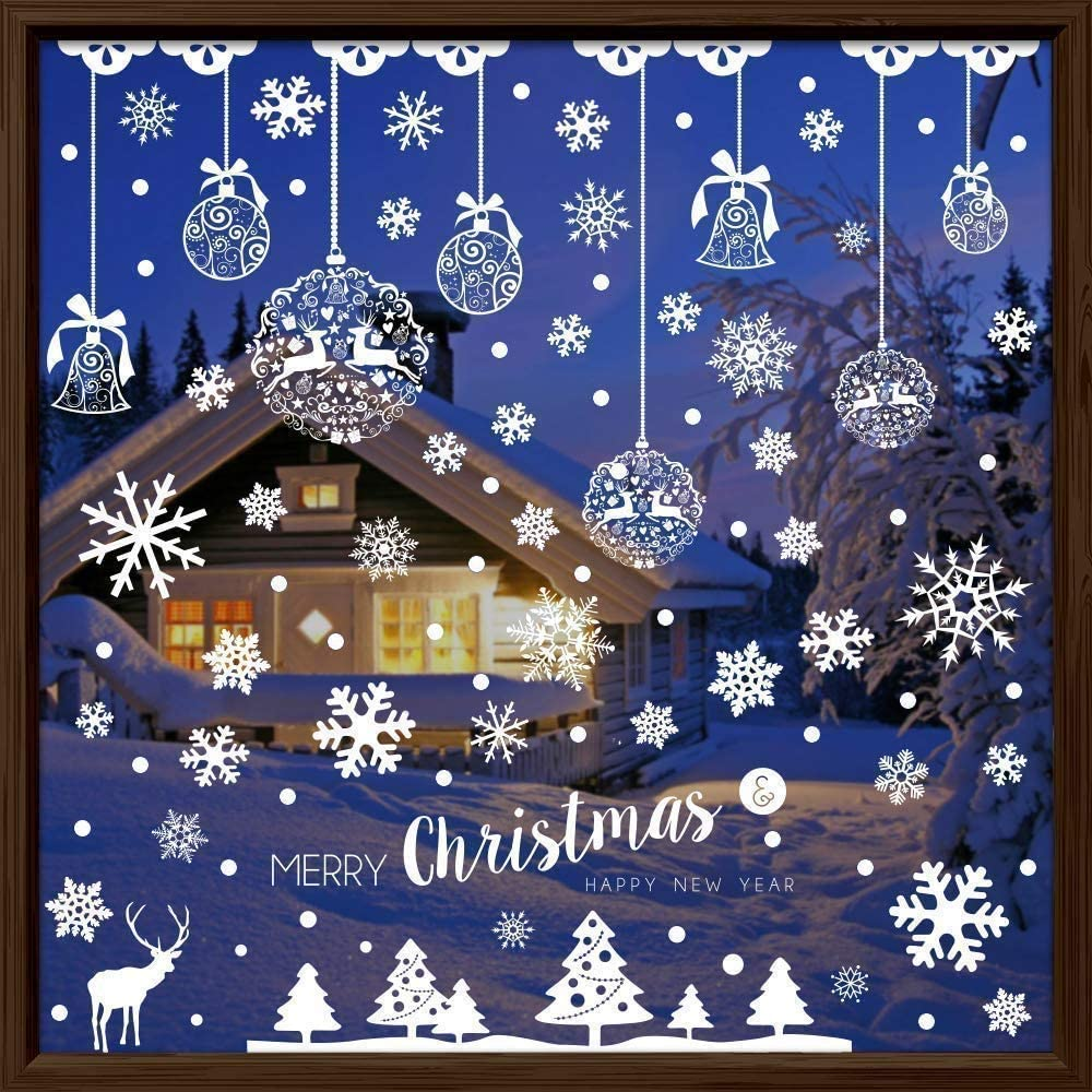 Sinwind pegatinas navidad para ventanas, 185pcs decoracion de navidad pegatinas ventana navidad adornos de navidad para escaparates de la Ventana Extraíble PVC Pegatinas Electrostáticas