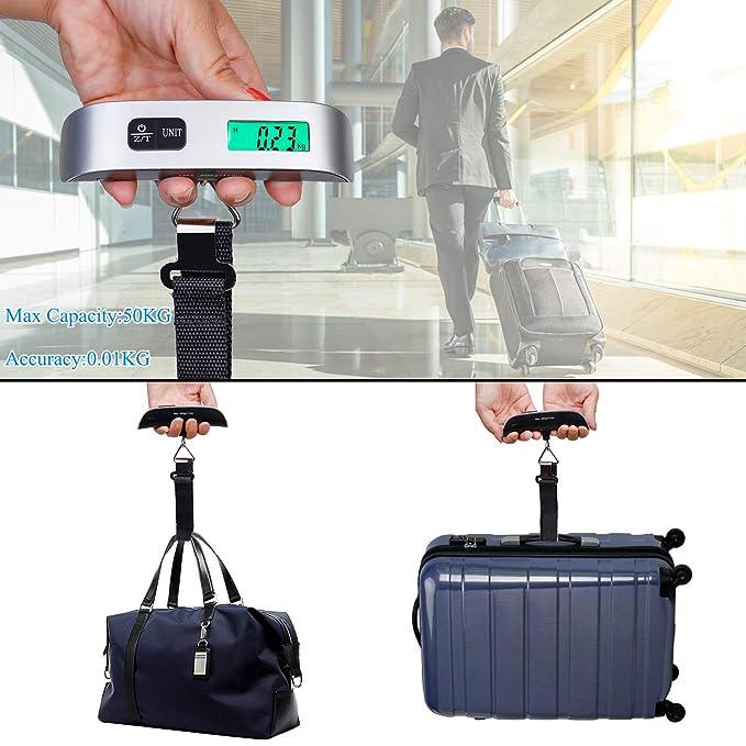 Portátiles Escala de Equipaje Básculas Electrónicas de Maleta Peso Ligero para Viajar de Hasta 110 lb/50KG con Función de Tara Plata: Amazon.es: Hogar