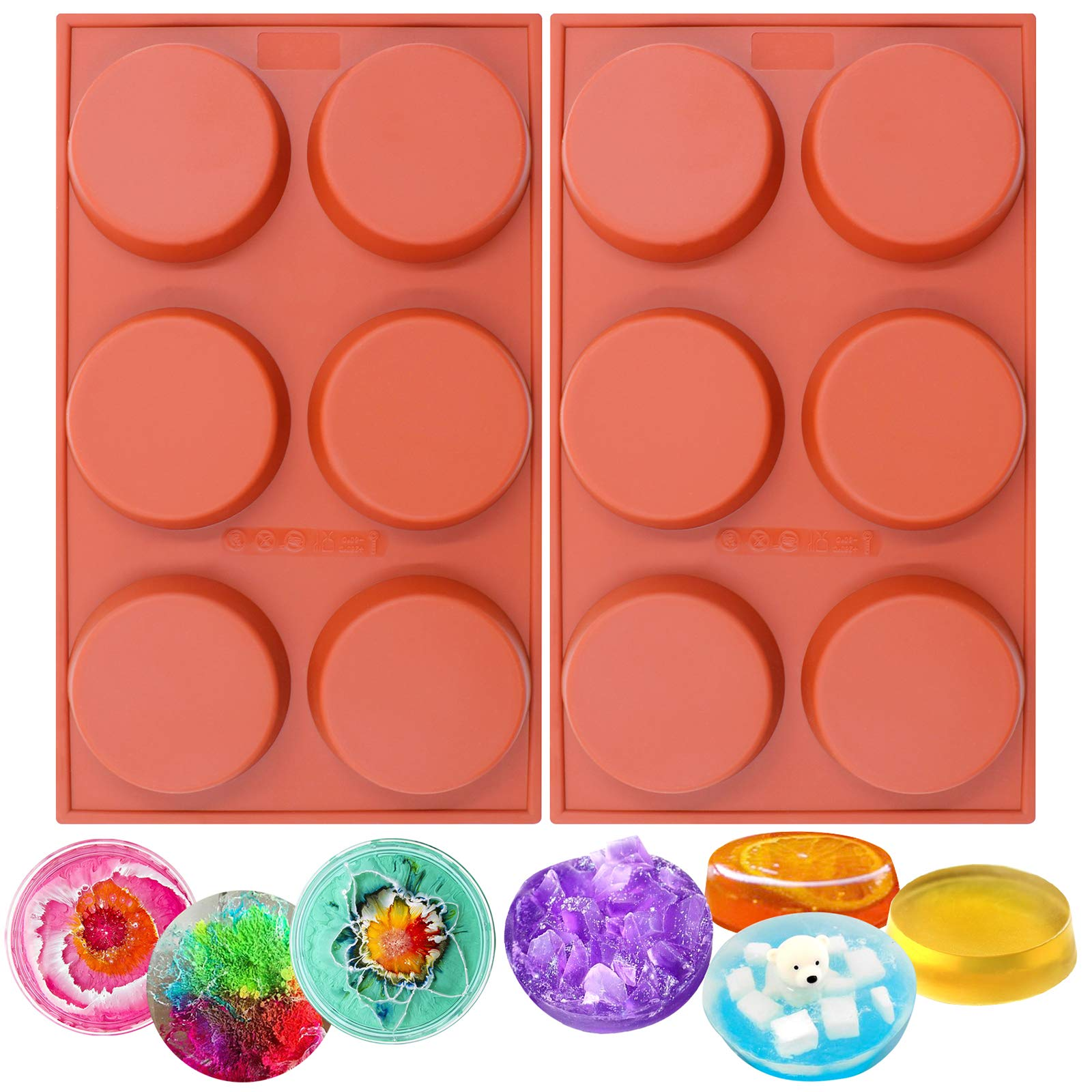 Funshowcase 6-Cavity Mini Disc Cake Pie Custard Tart Resin Coaster Silicone Molds 2-Bundle