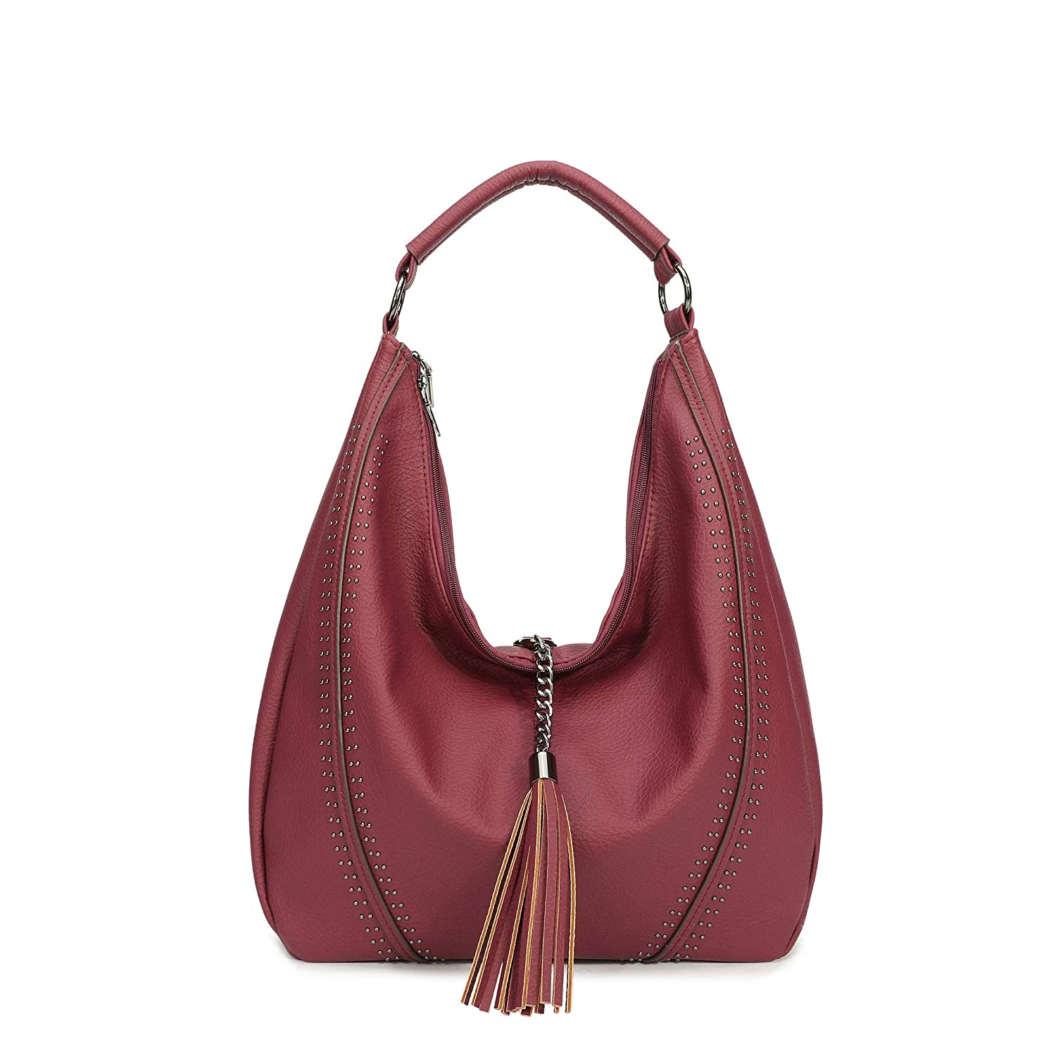 Green Hobo Shoulder Bags Large Compacity Tote Purses With Tassel Decoration Hobo Shoulder Bags Of PU Leather Large Compacity Tote Purses With Tassel Decoration Handbags for Women Soye