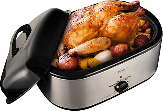 Steam Roaster Oven Self-Basting Lid Turkey Slow Appliance Kitchen Thanksgiving